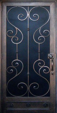 New screen door design wrought iron ideas Front Door With Screen, Wooden Screen Door, Metal Screen, Wrought Iron Security Doors, Wrought Iron Doors, Door Gate Design, Front Door Design, Security Screen, Security Tips