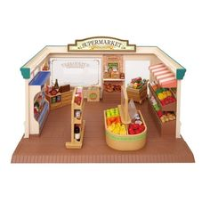 Calico Critters enjoy shopping for yummy, healthy food. With over 100 pieces including fruits, vegetables, bread, fish, canned food, drinks, cookies, ice cream, shopping cart, check-out counter with cash register, display stands, and much more. Calico Critters figures sold separately.