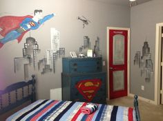 since our future adopted sons bedroom is going to be superman themed this is a great idea i just love this superman bed room