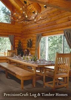 Love this Log Cabin dining room... what a great view!!!