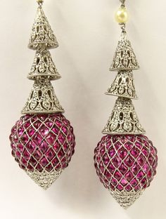 Vintage Approx. 20.0 Carat Cabochon Ruby, 2.50 Carat Round Cut Diamond and Platinum Chandelier Earrings.