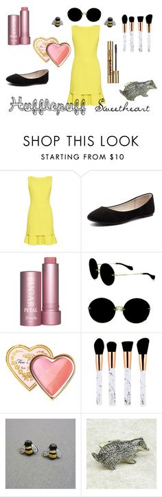 """""""Hufflepuff Sweetheart"""" by evelyn-18 ❤ liked on Polyvore featuring Oscar de la Renta, Verali, Miu Miu, Too Faced Cosmetics and Yves Saint Laurent"""