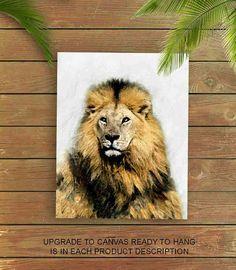 Lion Art Print, Lion Painting, Nursery Decor, Lion Poster, Home Decor, Lion Wall Art, Nursery Wall Art, Safari Nursery, Animal Nursery Art
