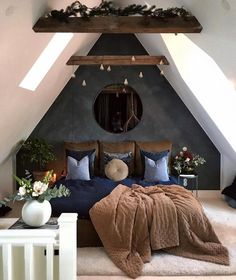 A modern rustic bedroom is one that involves a decor that has to do with a little bit of chic and a little bit of country style. rustikal Contemporary Decor Tips For A Modern Rustic Bedroom - Rustic News Attic Bedroom Designs, Bedroom Loft, Home Decor Bedroom, Bedroom Furniture, Bedroom Interiors, Grey Furniture, Furniture Design, Design Bedroom, Bedroom Styles