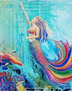 """""""Nicole Mermaid"""" Original Hand Painting by Jen Callahan Pour Painting, Painting Prints, Canvas Prints, Mermaid Art, Mermaid Paintings, Mermaids And Mermen, Wine Art, Color Of Life, Decoration"""