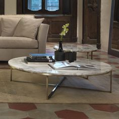 Marble & Brass round coffee table from Amode.