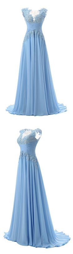 A Line Bateau Sweep Train Blue Pleated Prom Dress with Applique Sequins prom,prom dress,long prom dress,blue prom dress,dress,dresses,fashion,women'a fashion