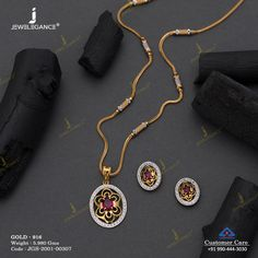 Gemstone Pendant Set jewellery for Women by jewelegance. ✔ Certified Hallmark Premium Gold Jewellery At Best Price Gold Chain Design, Gold Jewellery Design, Pendant Set, Gold Pendent, Gold Jewelry Simple, Gold Earrings Designs, Jewelry Patterns, Womens Jewelry Rings, Jena