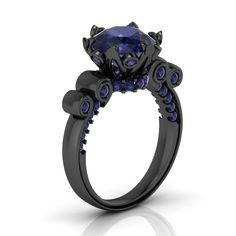 Floral Black Gold Engagement Ring with Blue Sapphire