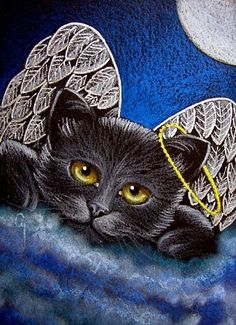 Cat Art...=^. ^=... ❤...Black Angel Kitty by Artist Cyra R.Cancel...