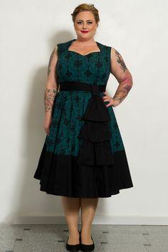 Grøn Vintage kjole med flot mønster | Køb vintage kjoler HER