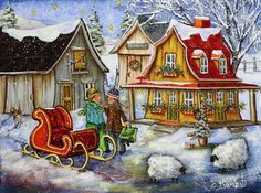 Christine Genest - Un souhait pour Noël Xmas Wallpaper, Sheep Art, Storybook Cottage, Country Art, Winter Art, Canadian Artists, The Good Old Days, Painting Inspiration, Folk Art