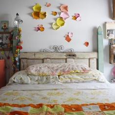scrumdillydilly: the june bed  vintage door headboard  #vintagedoorheadboard
