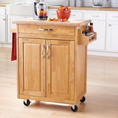 Mainstay Kitchen Island Cart - Natural - Portable Kitchen Island Cart with Solid Wood Top - Towel Bar and Spice Rack - Drawer and Cupboard for Ample Storage Options - Durable Casters for Mobility Portable Kitchen Island, Rolling Kitchen Island, Kitchen Island Cart, Kitchen Tops, Kitchen Islands, Kitchen Ideas, Kitchen Carts, Kitchen Gadgets, Utility Storage Cabinet