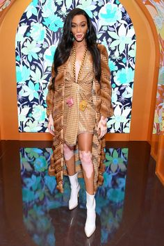 Winnie Harlow in a Pointy White Leather Ankle Boots Attending the Fendi's Launch of Solar Dream Event New York, Autumn Winter Winnie Harlow, Fendi, White Leather Ankle Boots, Cool Bomber Jackets, New York February, New York Fashion, Fall Winter, Autumn, Celebrity Style