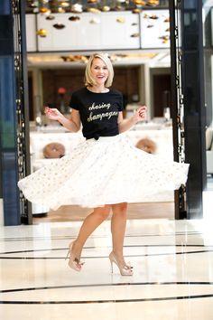 polka dot skirt, polka dot midi skirt, cute skirts, cute midi skirts, fall fashion, fall skirts, glitter, glitter skirts, how to dress your graphic tee, graphic tshirts, graphic shirts
