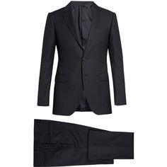 Lanvin Attitude-fit pinstripe wool suit (444.045 HUF) via Polyvore featuring men's fashion, men's clothing, men's suits, mens tailored suits, mens wool suits, mens slim fit suits, mens pinstripe suit and mens slim suits