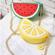 Mini PU Handbag Phone Bag Purse Cross Body Chain Watermelon Lemon Slice B
