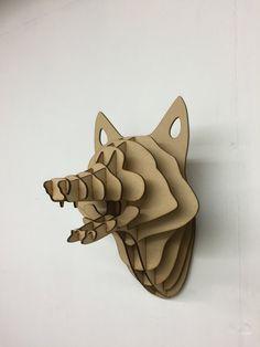 Fox madera grande trofeo cabeza de Animal de la pared decoración arte - corte láser 3D del colgante de pared