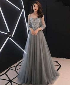 Gray sweetheart A-line tulle lace long prom dress, gray evening dress - Prom Dresses Grey Evening Dresses, Elegant Dresses, Pretty Dresses, Sexy Dresses, Beautiful Dresses, Dress Outfits, Fashion Dresses, Formal Dresses, Office Dresses