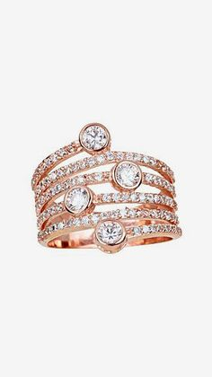 Rose Gold Sparkle Stacked Ring