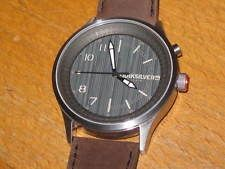 QUIKSILVER ADMIRAL MARINE STAINLESS STEEL MENS WATCH; LEATHER STRAP; NEW + TAG