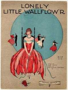 """Lonely Little Wallflower"" ~ 1923 Sheet music cover."