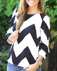 Simple Style Boat Neck Chevron Printed 3/4 Sleeve Blouse For Women Blouses | RoseGal.com Mobile