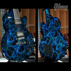 Custom guitar by Gibson USA! Guitar Painting, Guitar Art, Music Guitar, Cool Guitar, Acoustic Guitar, Blue Guitar, Guitar Scales, Unique Guitars, Custom Guitars