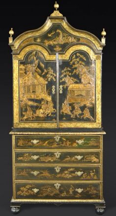 "A Rare Queen Anne Japanned Secretaire Cabinet, CIRCA 1710, Height: 7'9"" Width: 41"" Depth: 21 ½"" - The pagoda-form cornice surmounted by gilt ball-form finials over two arched doors enclosing an arrangement of seven drawers; the lower section fitted with a secretaire drawer opening to pigeonholes and drawers, over three graduated drawers, on bun feet. Decorated throughout with chinoiserie decoration featuring a hunt scene of court figures and lions in pagoda landscape settings."