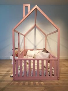 New Children bed Toddler bed Baby toy House frame bed Baby Pink Toddler Bed, Toddler Floor Bed, Toddler House Bed, Toddler Bed Frame, Kids Bed Frames, Fun Toddler Beds, House Frame Bed, House Beds, Toy House