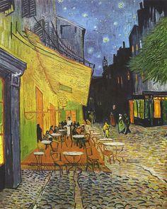 Vincent Willem van Gogh en 'Terraza de cafe por la noche'.