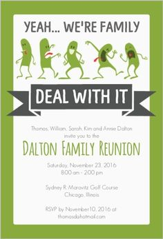 Easily customize this Funny Family Reunion Invitation design using the online editor. All of our Reunion Invitations design templates are fully customizable. Family Reunion Invitations, Family Reunion Shirts, Anniversary Invitations, Family Reunions, Groomsmen Invitation, Invitation Wording, Invitation Ideas, Invites, Family Humor