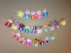 Handmade Peppa pig happy birthday banner by Craftophologie on Etsy