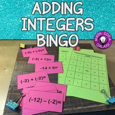 Adding Integers Activity- BINGO game Math Card Games, Fun Math Games, Class Games, Integer Number Line, Subtracting Integers Worksheet, Integers Activities, Number Line Activities, Adding And Subtracting Integers, Board Games