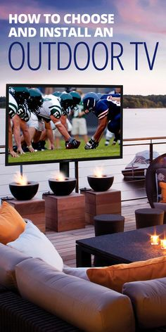 An outdoor TV can add another dimension to your backyard or patio entertaining. But don't try to use a regular indoor TV outside. There are specially made outdoor TVs that can live year round and withstand any weather. Outdoor Theater, Outdoor Tvs, Outdoor Rooms, Indoor Outdoor, Outdoor Living, Outdoor Furniture, Outdoor Gardens, Outdoor Chairs, Outdoor Kitchens