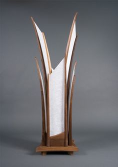 The Sydney Table Lamp  Hand Carved Walnut & Shoji by Castlewerks, $1385.00