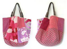 """sac réversible """"Mosaïque"""" rose 50cm X 40cm, pièce unique : Sacs à main par dianne-thomas"""