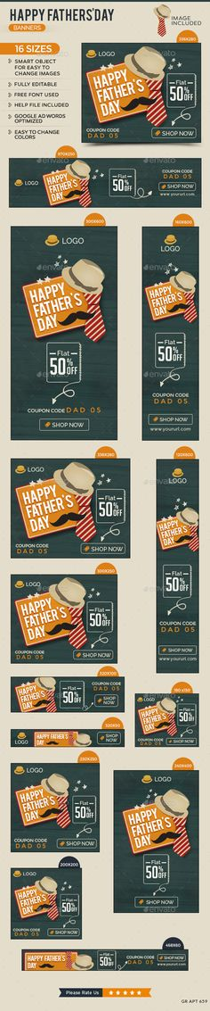 Father's Day Sale Banners Tempaltes #ads #fathersday Download: http://graphicriver.net/item/fathers-day-sale-banners/11658210?ref=ksioks
