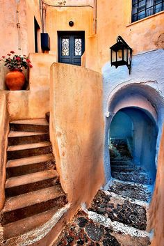 A beautiful narrow alley in Pyrgos village, Santorini island, Cyclades, Greece. • Millions of unique designs by independent artists. Find your thing. Oh The Places You'll Go, Places To Travel, Places To Visit, Travel Destinations, Santorini Island, Santorini Greece, Beautiful World, Beautiful Places, Beaux Villages