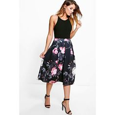 Boohoo Night Suki Dark Floral Digital Print Full Midi Skirt ($30) ❤ liked on Polyvore featuring skirts, black, mini skirt, floral print midi skirt, floral skirt, mid calf skirts and holiday skirts