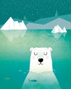Vector illustration of a polar bear taking a swim