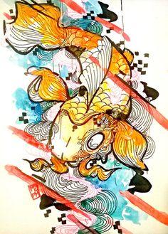 Hey, I found this really awesome Etsy listing at https://www.etsy.com/listing/217013891/koi-fish-art-japanese-koi-fish-art-print