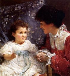 """Mrs. Lewis And Her Daughter, Elizabeth"" -- Lawrence Alma-Tadema (1836 – 1912, Dutch-born English)"