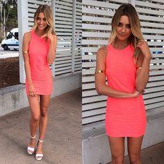 """@Sabo Skirt's photo: """"Ultra hot neon mini dress! Get the thrill seeker dress now at #SaboSkirt.com"""""""