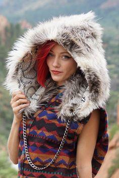 White Wolf Tribe Spirit Hood Faux Fur with by BlackSheepMovement