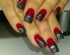 Red Ombre Nails, Glitter Nails, Gel Nails, Red Glitter, Black Ombre, Glitter Art, Nail Nail, Nail Polish, Red Wedding Nails