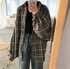 Harajuku Lantern Sleeve Plaid Shirt Woolen Jacket from Harajuku Feclothing - Cute Outfits Plaid Shirt Outfits, Cute Casual Outfits, Retro Outfits, Grunge Outfits, Vintage Outfits, Vintage Clothing Styles, Men Casual, Vintage Wear, Stylish Outfits