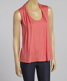 Look what I found on #zulily! Coral Layered Cardigan Tank #zulilyfinds