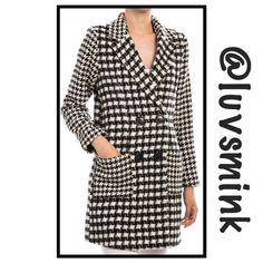 BLACK AND IVORY WALKING COAT Such a chic way to be seen; whether dressed for success at the office, or just out for a stroll with friends. Stroller length of 34 inches, made of an 100% Poly blend for sturdiness and long lasting wear. Double breasted for a lean, slimming effect; two front pockets. Available in Small, Medium, and Large.  DO NOT BUY FROM THIS LISTING; PLEASE ASK FOR A PERSONAL LISTING IN YOUR SIZE; ❤️ NO HOLDS OR TRADES. PRICE IS FIRM, UNLESS BUNDLED. Flying Tomato Jackets…